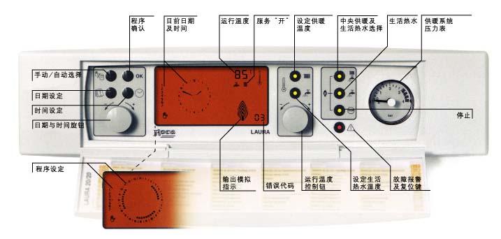 大液晶屏背光灯显示,按键操作。自带时间程序控制器。燃烧效率可达93.4%。供暖温度调节范围:30~90。套管式热交换器通过热胀冷缩能自动剥离水垢。启动生活热水不需运转水泵,节约能源。双速风机在小火运行时采用低速运行更加节能、降低噪音。水泵三档调速根据房间面积大小自行调节。供暖输出功率可调,对于小面积的供暖用户不会出现频繁启动现象。密闭燃烧,不消耗室内氧气。具有防冻保护功能。 生活热水采用ATACSS控制系统、即时反应系统和缓冲系统。使生活热水温度控制精确到1。生活热水出水量为:LAURA20/20F